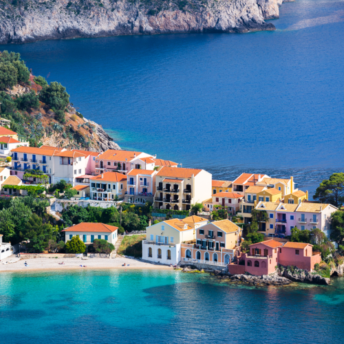 View of Assos village in kefalonia.